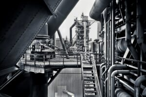 factory, refinery, industrial, black and white, tubes, tanks